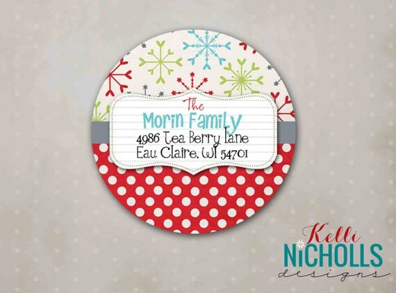 Snowflake and Polka Dot Christmas Return Address Labels, Custom Holiday Sticker #C100