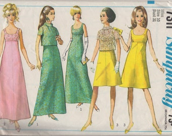 Simplicity 7311 1960s Misses Evening Dress Back Button Jacket Pattern Womens Vintage Sewing Pattern Size 10 Bust  31