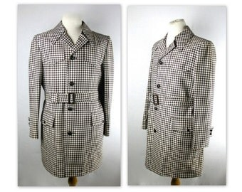60s Mod Belted Jacket 42 Houndstooth with Patch Pockets