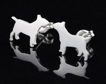 Bull Terrier Sterling Silver Silhouette Earring Studs