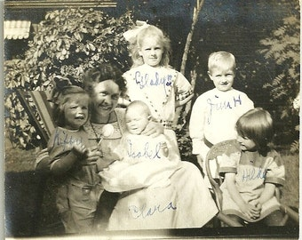 Antique Photo Mother With Arms Full Of Identified Children In Victorian Clothing Vintage Photograph