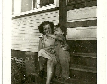 Vintage Photo Lovable Little Boy With Dark Curly Hair Points For Mom Snapshot Photograph