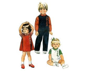 Toddler Jumpsuit or Jumper Pattern Romper and Shirt with Alphabet Transfer Kids Boy or Girl McCalls 7832 Size 1 Vintage Sewing Pattern