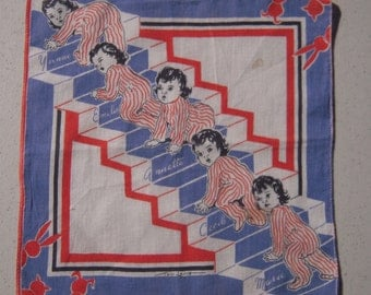 Vintage Tom Lamb Hankie Dionne Quintuplets Climb the Stairs