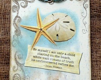 Starfish Sand Dollar Beach Quote Gift or Scrapbook Tags or Magnet #564