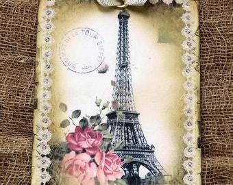 French Paris Eiffel Tower Pink Rose Gift or Scrapbook Tags or Magnet #201