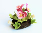 Miniature Plants Polymer Clay Flowers Supplies for Dollhouse, Purple Pansy