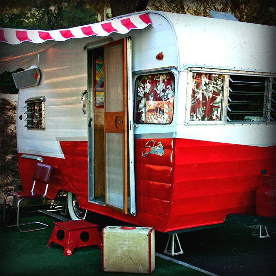 Red White Shasta Trailer Photography Vintage Camper Trailer