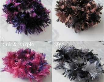 4 Hair Scrunchies, Ponytail Holder, Crochet Scrunchies, Girls Hair Accessory, Set of 4 Scrunchies, 4 Colors, Purple, Brown, Gray, Pink