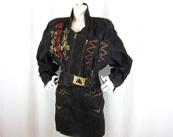 Vintage 80s Parisian-Made Bomber Jacket and Mini Skirt Denim Set, Tramway Label, Studs, Embroidery, Zippers, Sz S