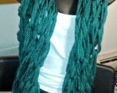 Fluffy Knit Green Scarf