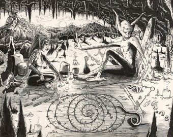 "Pen & Ink Fantasy Drawing Print Titled ""Dusk Reading"""