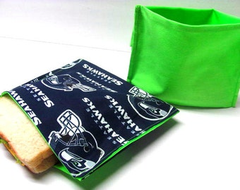 2 PC ReUsable Sandwich and Snack Bag Set, Eco Friendly Lunch Kit, 12th Man Settle Seahawks Back to School