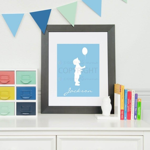 Personalized Silhouette Print // Style: My Name, in script // Giclée Art Print for Nursery / Child's Room // N-S05-1PS QQ6