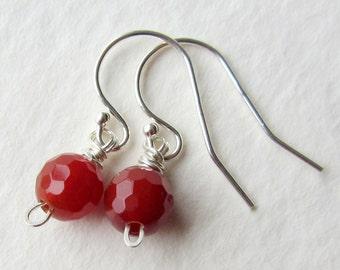 Petite Orange Carnelian Earrings - Faceted Round Gemstones - Sterling Silver Earrings
