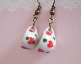 Tea Cup Earrings, Red Heart Polka Dot Miniature Tea Cup Tea Party Jewelry