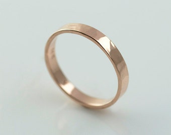 Rose Gold Wedding Bands Recycled Hand Forged 14k Eco Friendly Metal