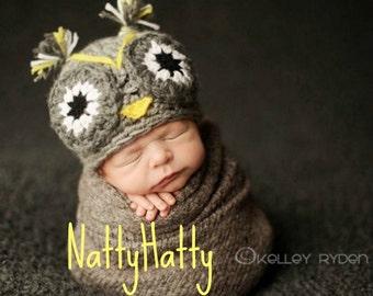 Crochet owl hat baby owl hat, owl hat crochet newborn prop