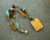 yellow jasper, amber and turquoise necklace