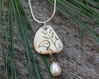 Beach Find Pottery Shard with Freshwater Pearl Dangle and Sterling Silver Necklace