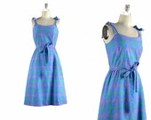 1970s Dress / plaid cotton dress / 70s Dress / neon plaid summer sun dress