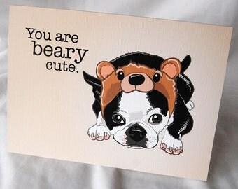 Beary Cute Boston Terrier Greeting Card