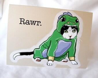 Lil Dragon Cat Greeting Card