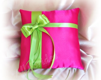 Green and hot pink wedding ring bearer pillow, satin wedding ring cushion