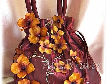 Bridal drawstring purse, wedding money dance bag, burgundy and burnt orange bridal accessories