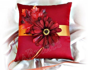 Burgundy and burnt orange Fall leaves wedding ring bearer pillow - Fall Leaves Ring Cushion