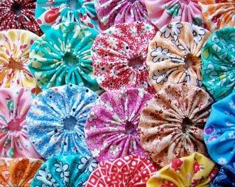 Fabric Flower FEEDSACK 50 Yo Yo Headband 3/4 Inch Bobby Pin Barrette Hair Clip Trim Applique