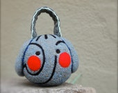 Needle Felted Wool Gray Elephant - Rattle - Baby Shower - New Baby - Made to Order