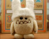 Needle Felted Cashmere Wool Easter Bunny Yeti in Disguise Toy Made to Order