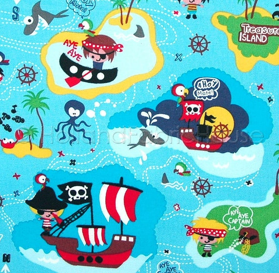 cotton fabric kids fabric turquoise fabric pirate fabric