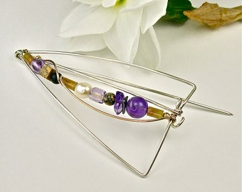 OOAK Sterling Brooch, Amethyst, Pearl, Multi-Gemstone Silver Pin, 14K Gold-filled Detail, Unique Abstract Modern Design