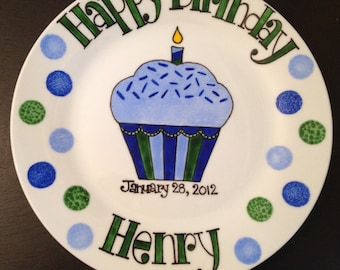 Happy Birthday Plates Hand Painted Personalized . First Birthday or Baby Gift for Boy
