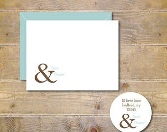 Bridal Shower Thank You Cards . Wedding Thank You Cards . Thank You Notes . Personalized Wedding Cards . Ampersand Wedding Cards