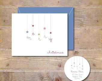 Christmas Card .  Holiday Card Set . Christmas Card Sets . Greeting Cards .  Personalized Christmas Cards - Falling Stars