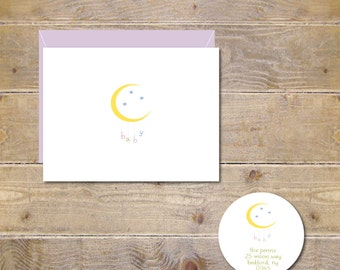 Baby Thank You Cards . Baby Shower Thank You Cards . Baby Shower Thank You Notes . Baby Thank You Notes - Moon & Stars