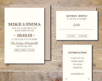 Wedding Invitations . Country Wedding Invites . Rustic Wedding Invitations . Heart Wedding Invites . Typography . Vintage - Simply Modern