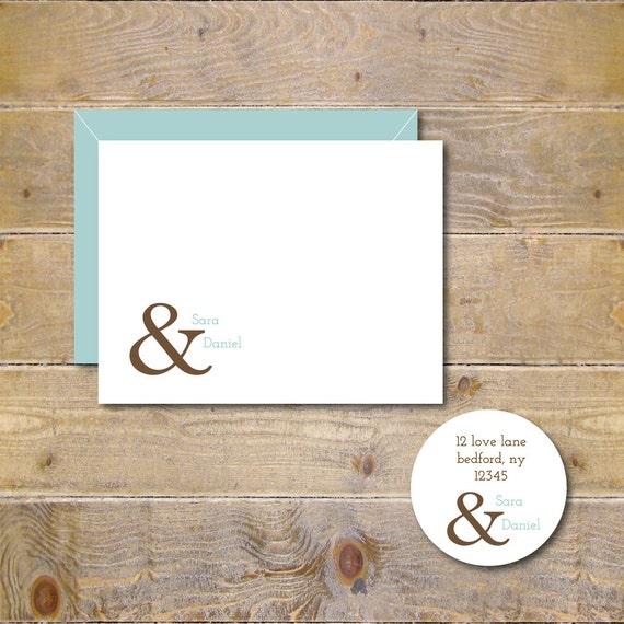 Bridal Shower Thank You Cards . Wedding Thank You Cards . Thank You Notes . Personalized Wedding Cards . Ampersand Wedding Cards