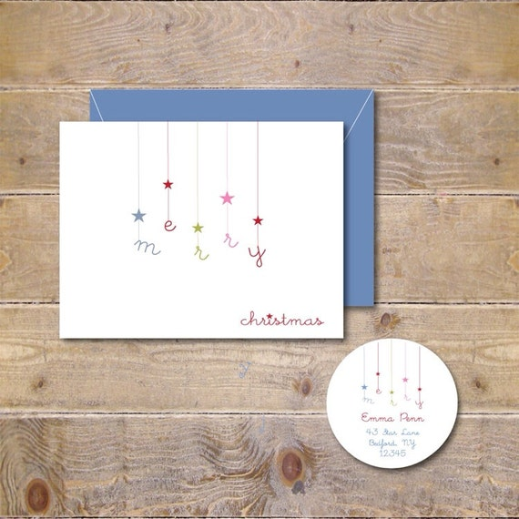 Christmas Card .  Holiday Card Set . Christmas Card Sets . Greeting Cards .  Personalized Christmas Cards - Falling Stars