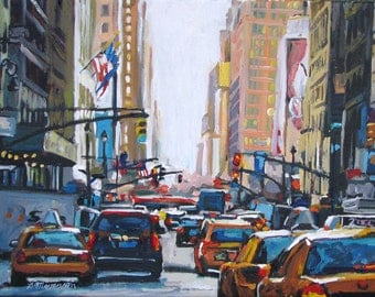 NYC Taxi Cabs Art New York City Fine Art Print Cityscape Painting Urban scene skyline  New York Painting by Gwen Meyerson