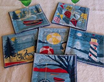Weekend Retreat Coasters Beach Living Nautical Housewares Home Decor Handmade