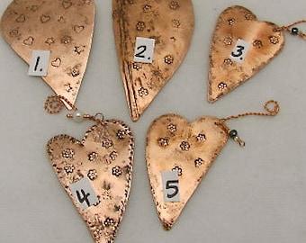 Christmas Tree Ornaments. Heart Ornaments, Copper Hearts. Heart Ornament Gift. Christmas special Heart gift. ONSALE.