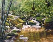 Roaring Fork, Smoky Mountains art watercolor landscape painting print by Cathy Hillegas, 16x22, emerald, green, gold, puprple, brown, laurel