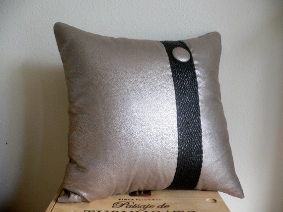 Throw Pillows With Buttons : Pillow...Modern with Button...Decorative Throw Pillow by AlinasArt