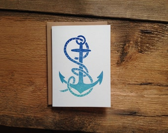 Hand Carved Letterpress Anchor Card
