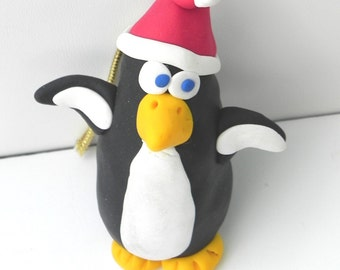 Penguin Christmas tree decoration, penguin souvenir, Christmas gift, black and white penguin, holiday decor, handmade clay, O209