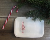 Holiday candy dish, red and white tree, Christmas woodland forest home decor, small hostess gift